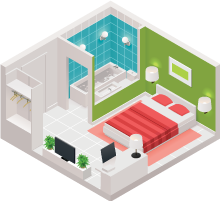 Isometric view of bedroom and bathroom