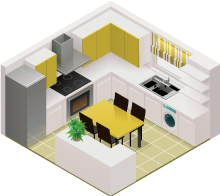 Isometric view of kitchen